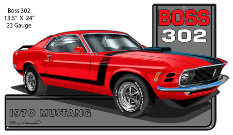 Mustang 1970 Series Red Cut Out Metal Sign By Rudy Edwards 13.5x24