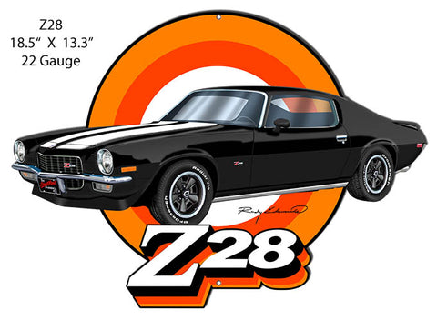 Z28 Camaro Black Cut Out Garage Art Metal Sign Rudy Edwards 13.3x18.5