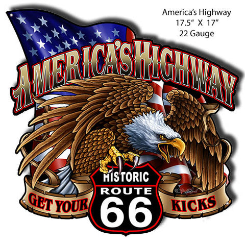 Route 66 Cut Out Man Cave Metal Sign By Steve McDonald 17x17.5