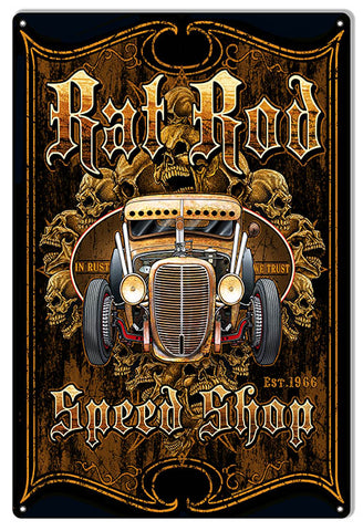 Rat Rod Hot Rod Garage Art Metal Sign By Steve McDonald 12x18