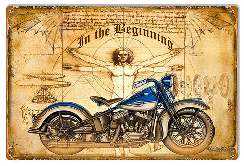 The Beginning Motorcycle Garage Shop Man Cave Metal Sign 12x18