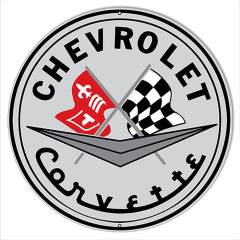 "Chevrolet, Corvette, Reproduction, Garage Art, Man Cave, Metal, Sign, 14""x14"", Round,24g Steel"