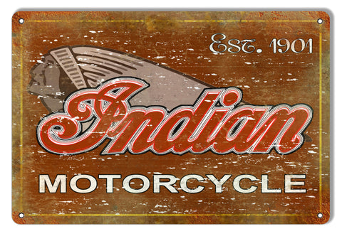 Indian Motorcycle 1901 Series Vintage Metal Sign 12x18