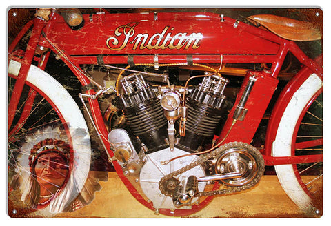 Indian Motorcycle Vintage Metal Sign 12x18