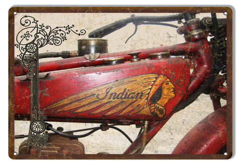 Indian Motorcycle Vintage Metal Sign 9x12