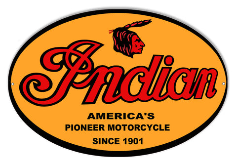Indian Motorcycle 1901 Series Metal Sign 9x14
