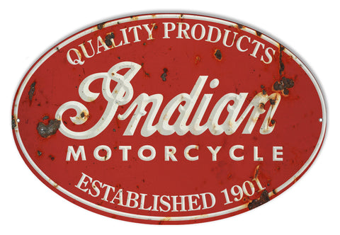 Indian Motorcycle 1901 Series Vintage Metal Sign 9x14