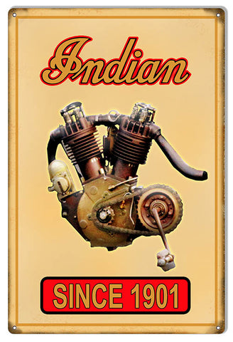 Indian Motorcycle Motor 1901 Metal Sign 12x18