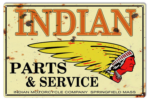 Indian Motorcycle Genuine Parts Vintage Metal Sign 16x24