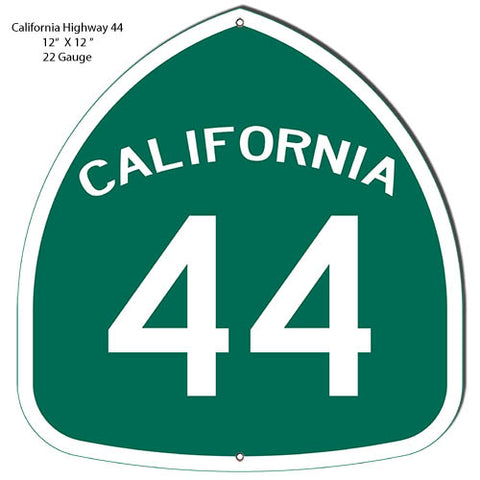 California 44 Highway Reproduction Garage Shop Metal Sign 12x12