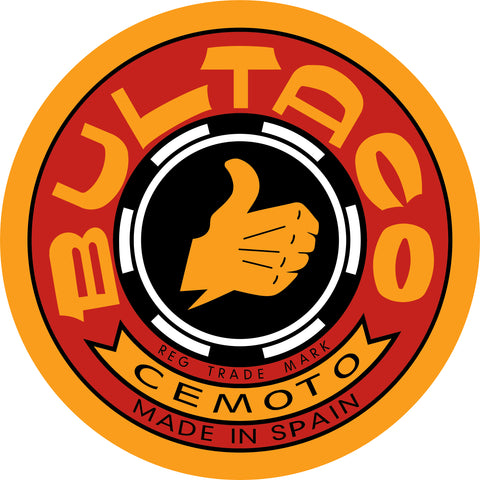 "BULTACO Sticker 4"" round Gold w/ Red"