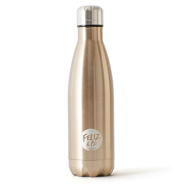Feliz & Co Water Bottle - Rose Gold 500ml - Barefoot Blvd