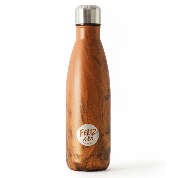 Feliz & Co Water Bottle - Dark Wood 500ml - Barefoot Blvd