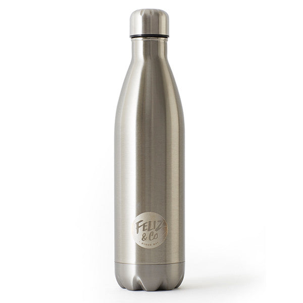 Feliz & Co Water Bottle - Silver 750ml - Barefoot Blvd
