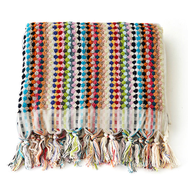 Feliz & Co Pom Pom Rectangle Towel - Multi
