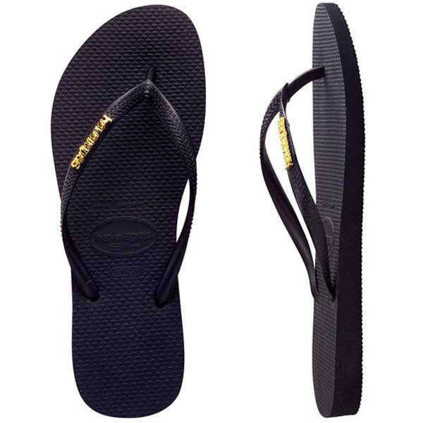 Havaianas Slim Metal Logo - Black/Gold - Barefoot Blvd