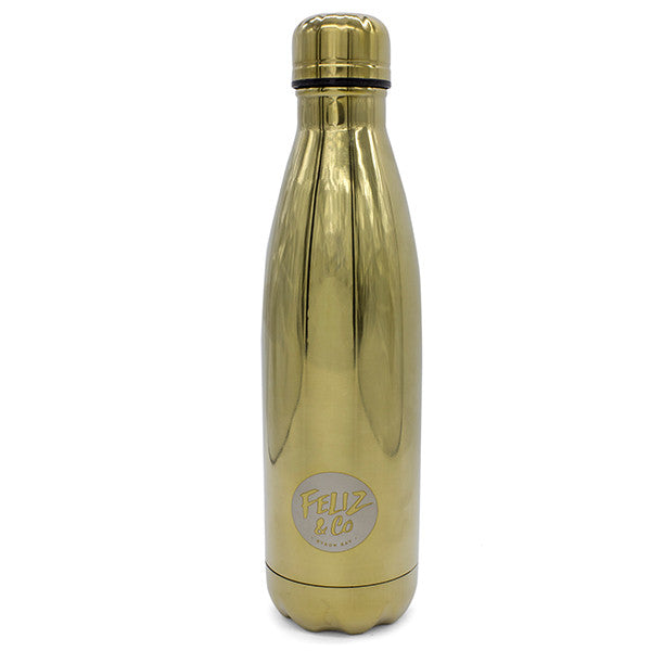 Feliz & Co Water Bottle - Gold 500ml - Barefoot Blvd