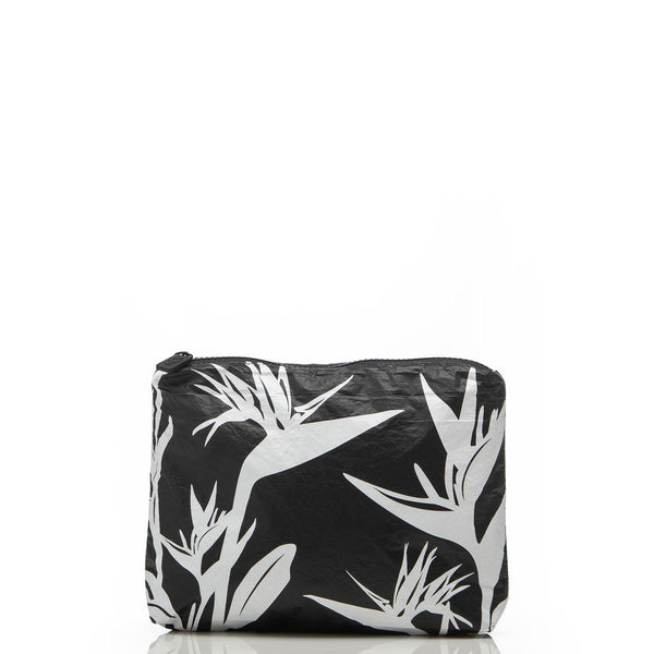 LeMu Small Pouch - Birds In Paradise - White on Black