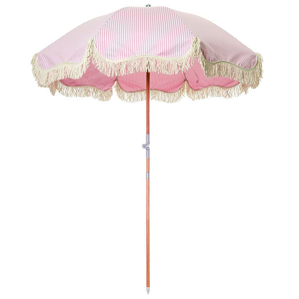 Business & Pleasure Premium Umbrella - Laurens Pink Stripe - Barefoot Blvd