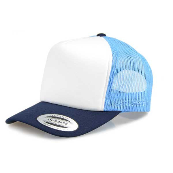 Flexfit Hi Crown Trucker - Light Blue/Navy - Barefoot Blvd