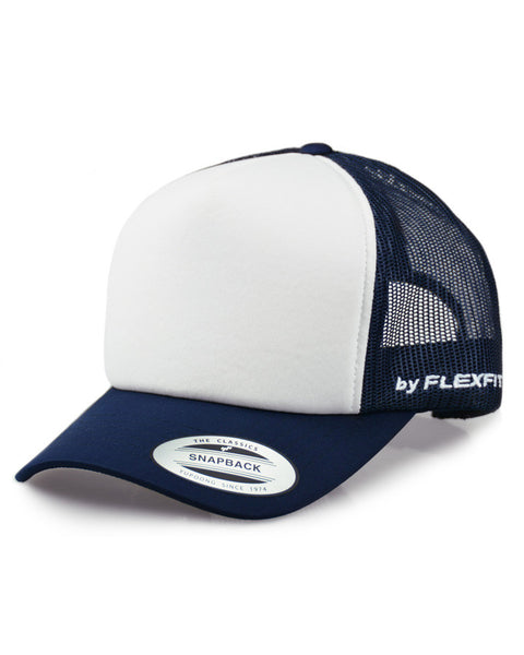 Flexfit Hi Crown Trucker - Navy//White - Barefoot Blvd