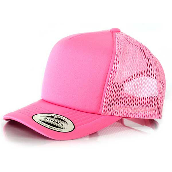 Flexfit Hi Crown Trucker - Youth Pink - Barefoot Blvd