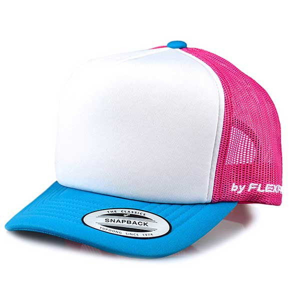 Flexfit Hi Crown Trucker - Toddler Pink/Torquoise - Barefoot Blvd