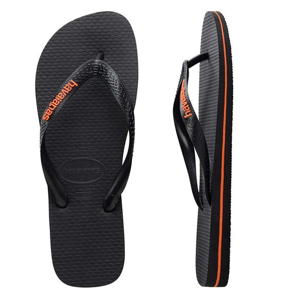 Havaianas Rubber Logo - Black/Orange Neon - Barefoot Blvd