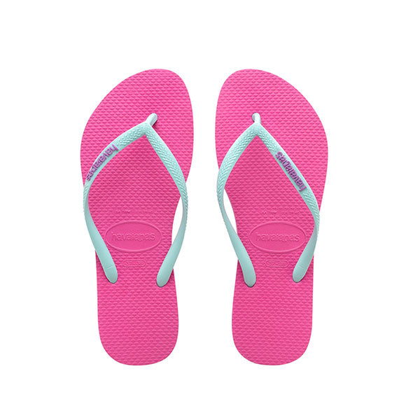 Havaianas Kids Slim Rubber Logo - Hollywood Rose/Ice Blue - Barefoot Blvd
