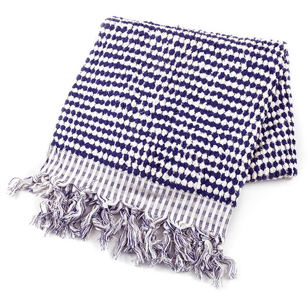 Feliz & Co Pom Pom Rectangle Towel - Navy/White