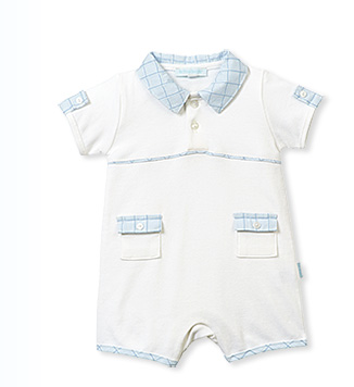 White romper with plaid sky blue collar - Too Cute for You Baby and Toddler Boutique