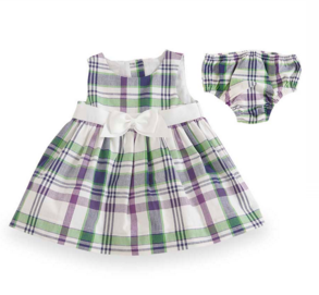 6-12 Months Purple/Green Plaid Gingham Empire Dress with Bloomers - Too Cute for You Baby and Toddler Boutique
