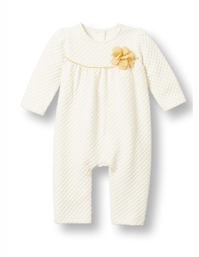 Ivory and Gold Footless Jumpsuit - Too Cute for You Baby and Toddler Boutique - 1