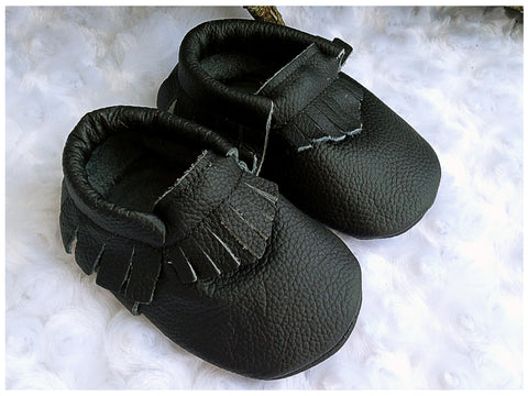 Black Moccasins - Too Cute for You Baby and Toddler Boutique