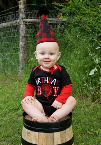 Black 1st Birthday Bodysuit