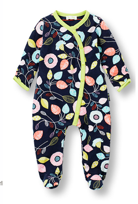 Footed DANCING LEAVES curved front jumpsuit - Too Cute for You Baby and Toddler Boutique - 1