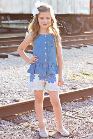Light Wash Denim Button-Up Peplum Tank