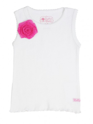 White w/ Hot Pink Flower Tank Top