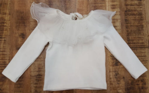 White Butterfly Tulle Top