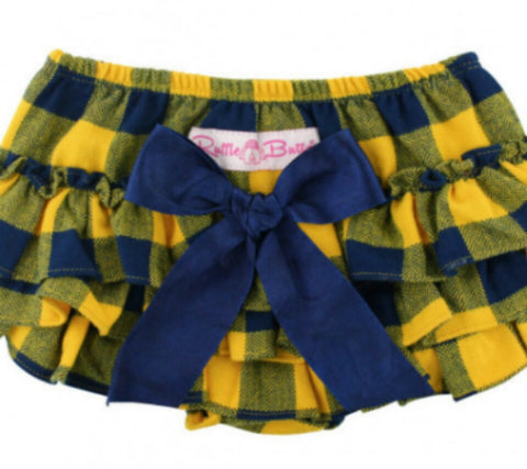 Navy and Yellow Checker Plaid Rufflebutts