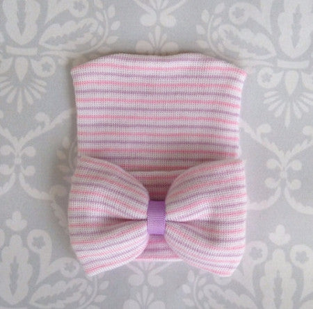 Newborn Girl Hospital Hat with Bow - Too Cute for You Baby and Toddler Boutique - 1