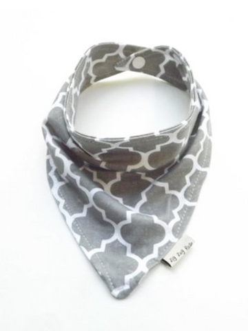 Baby Bandana Bib Scarf in Grey Qua-trefoil Jersey Knit - Too Cute for You Baby and Toddler Boutique