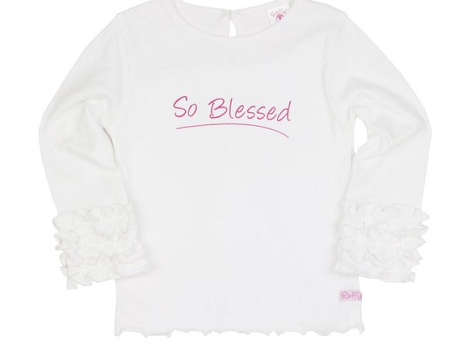 "White "" So Blessed"" Ruffled Long Sleeve Tee - Too Cute for You Baby and Toddler Boutique - 1"