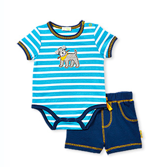 Stripe bodysuit and Navy Shorts with Puppy Seat - Too Cute for You Baby and Toddler Boutique - 1
