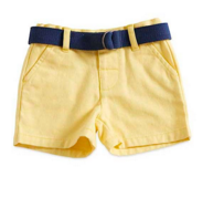 6-12 Months Twill Short with Navy Belt and Adjustable Waist - Too Cute for You Baby and Toddler Boutique