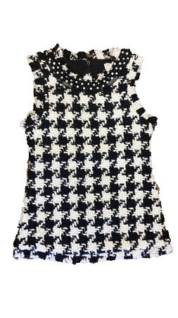 Black And White Hounds-Tooth Sleeveless Dress - Too Cute for You Baby and Toddler Boutique - 1