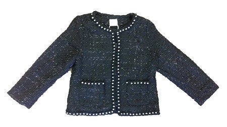 Black Pearl Trim Jacket - Too Cute for You Baby and Toddler Boutique - 1