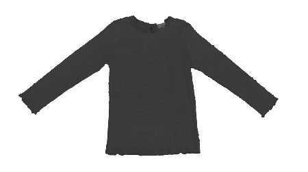 Black Laced Collared Long Sleeve Top - Too Cute for You Baby and Toddler Boutique - 1