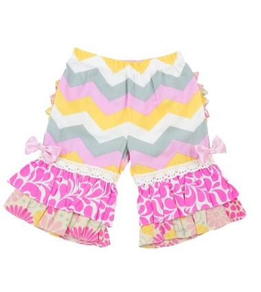 Cara Chevron Ruffle Capris - Too Cute for You Baby and Toddler Boutique - 1