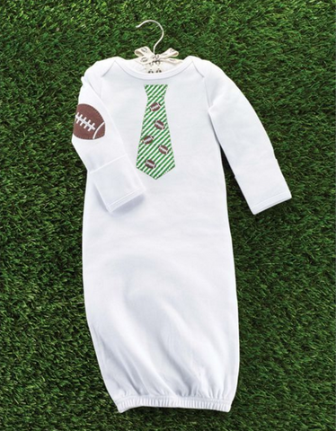 Football Tie Sleep Gown - Too Cute for You Baby and Toddler Boutique
